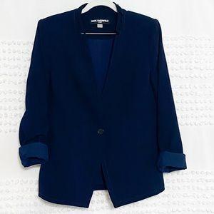 Karl Lagerfeld navy lace trim lapel-less blazer 12